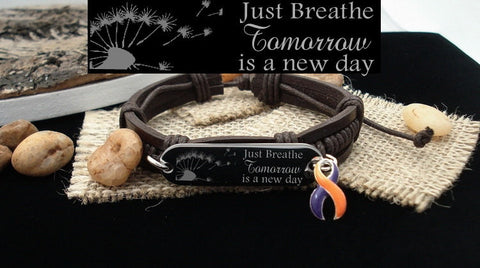 OP-4 CRPS Awareness Psoriatic Arthritis Ramsay Hunt Just Breathe Leather Bracelet