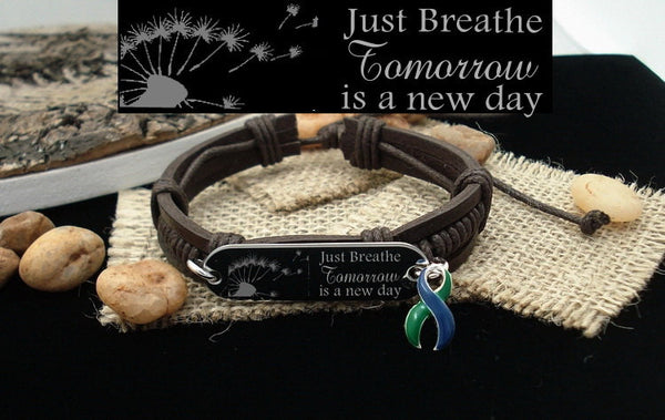 GB-4 IIH Awareness Neurofibromatosis Just Breathe Leather Bracelet