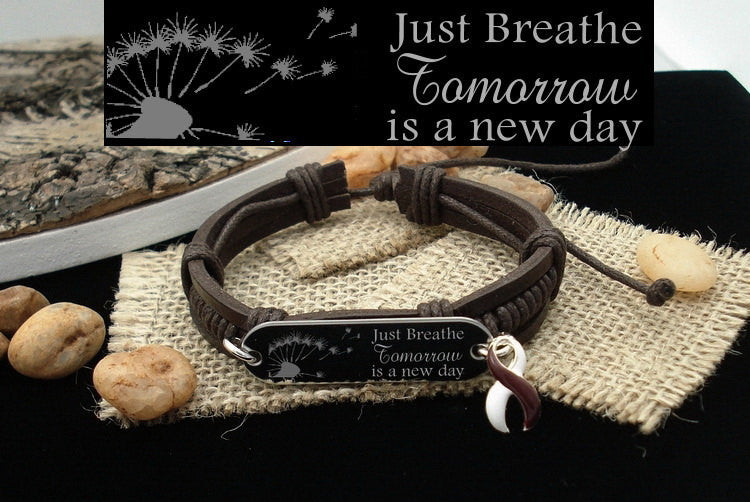 BY-4 Throat Oral Cancer Awareness Head & Neck Just Breathe Leather Bracelet