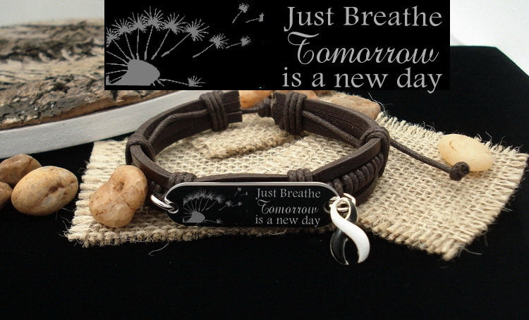 BW-4 Ehlers Danlos EDS CVID Just Breathe Leather Bracelet