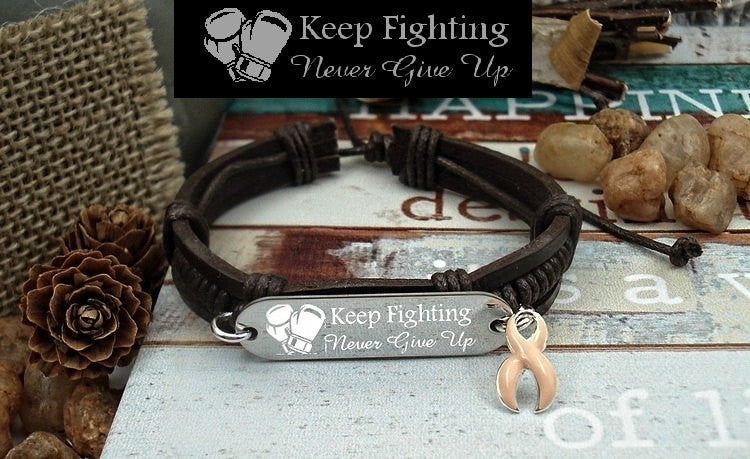 PE-1 Uterine Cancer Endometrial Cancer Awareness Jewelry Keep Fighting Leather Bracelet