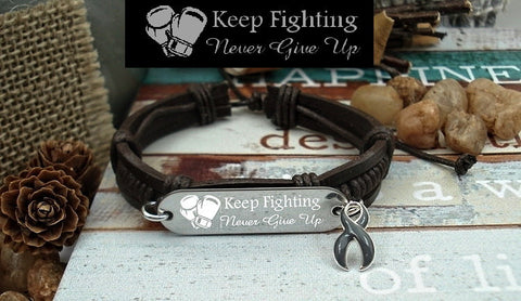 GR-1 Brain Tumor Brain Cancer Awareness Jewelry Keep Fighting Leather Bracelet