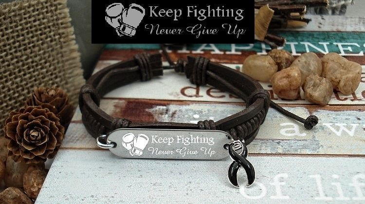 BL-1 Melanoma Awareness Narcolepsy Jewelry Keep Fighting Leather Bracelet