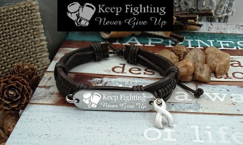 WH-1 Lung Cancer Awareness Violence Against Women Awareness Keep Fighting Leather Bracelet