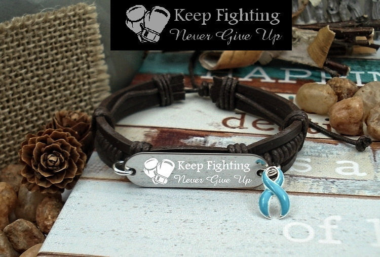LB-1 Anorexia Lymphedema Prostate Cancer Awareness Jewelry Keep Fighting Leather Bracelet