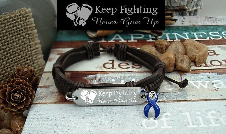 DB-1 Colon Cancer Awareness Jewelry Child Abuse Keep Fighting Leather Bracelet