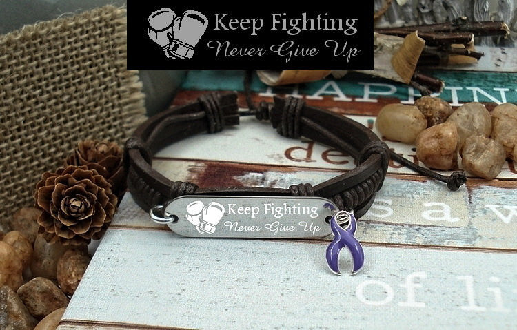 DP-1 Fibromyalgia Ulcerative Colitis Chiari Crohns Awareness Jewelry Keep Fighting Leather Bracelet