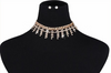 Beautiful Dangling Rhinestone Diamonds Choker Necklace w/ Earrings Set Silver & Gold