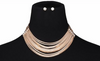 Multi Layered Chain Choker Collar Necklace w/ Earrings Set - Multiple Colors
