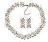 Two Row Simulated Pearl Statement Choker Necklace w/ Diamond Accents w/ Matching Earrings