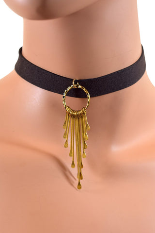 Brown Leather Choker w/ Gold Metal Tassel
