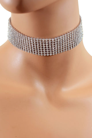 Eight Strand Rhinestone Choker
