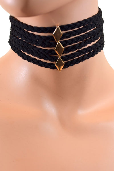Multi Layered Rope Choker w/ Diamond Shaped Charms - Multiple Colors