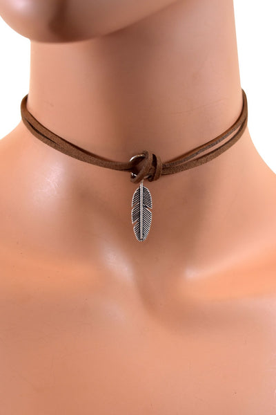 Double Layered Velvet Choker w/ Feather Pendant - Multiple Colors