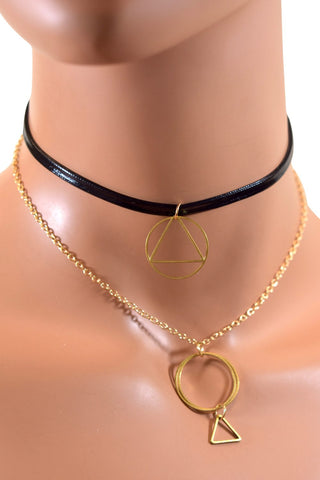 Black Double Layered Choker w/ Gold Chain and Geometric Pendants