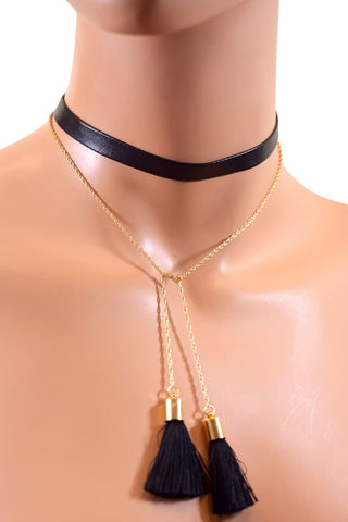 Black Leather Wrap-A-Round Choker w/ Tassels