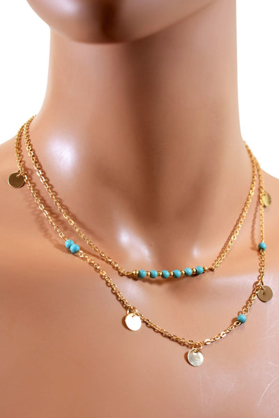 Double Layered Gold Chain Choker w/ Teal Beads & Small Charms