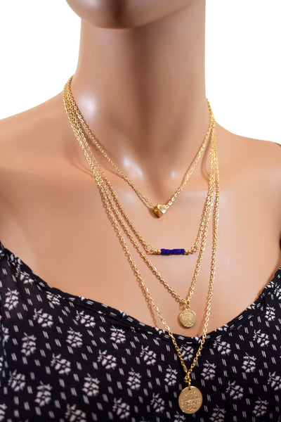 Multi Layered Gold Chain Choker w/ Different Charms & Blue Beads