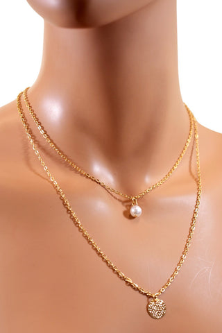 Double Layered Gold Chain Choker w/ Small Pearl & Pendant