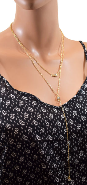 Double Layered Gold Chain Choker w/ Hanging Diamond Stud