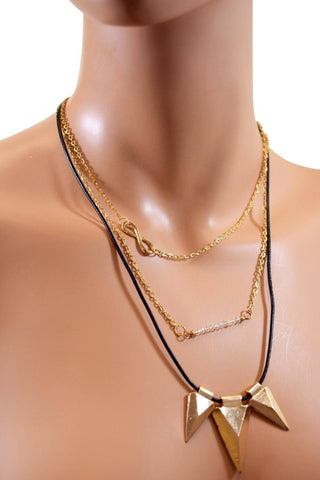 Triple Layered Gold & Leather Choker w/ Infinity Crystal and Triangular Pendants