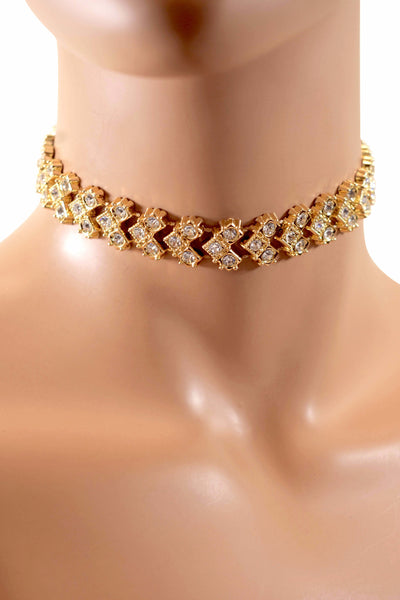 Trendy & Fashion Gold Rhinestone Diamond Choker Necklace w/ Unique Design
