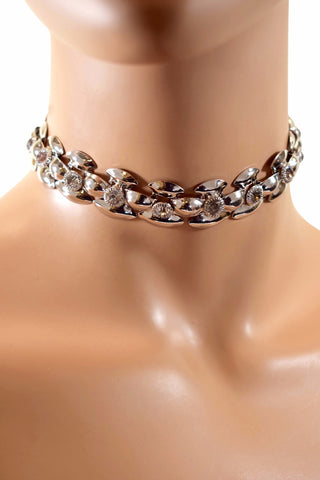 Flower Patterned Rhinestone Diamond Choker Necklace w/ Earrings - Multiple Colors