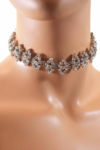 Gorgeous Women's Rhinestone Diamond Choker Necklace w/ Earring Set - Silver & Gold