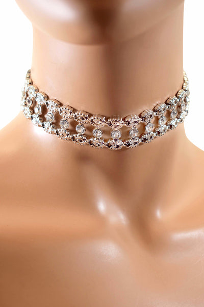 Trendy Fashion Rhinestone Diamond Choker Necklace w/ Earrings Set - Multiple Colors