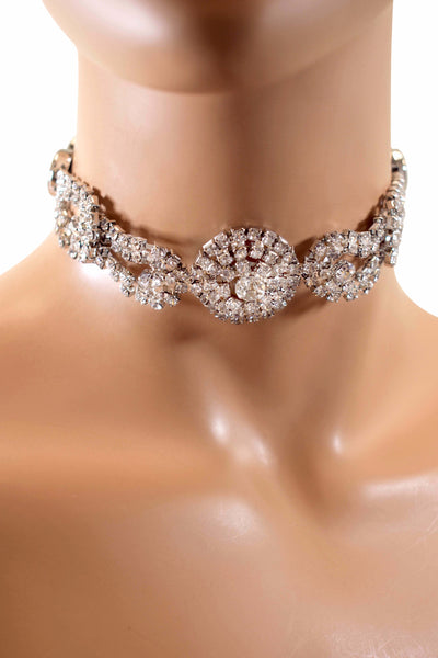 Elegant & Gorgeous Fashion Rhinestone Crystal Diamond Choker w/ Matching Earrings