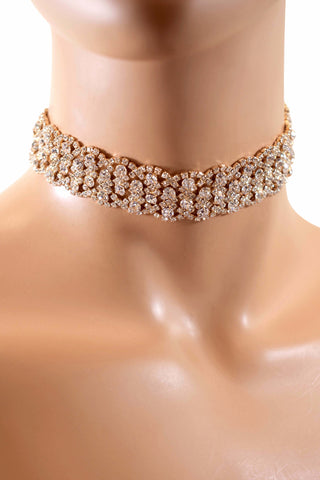 An Elegant Fashion Rhinestone Diamond Choker Necklace - Silver & Gold