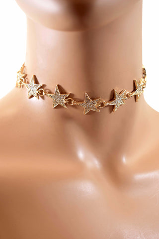 Gorgeous Stylish Gold Stars Design Choker Necklace w/ Rhinestone Diamonds