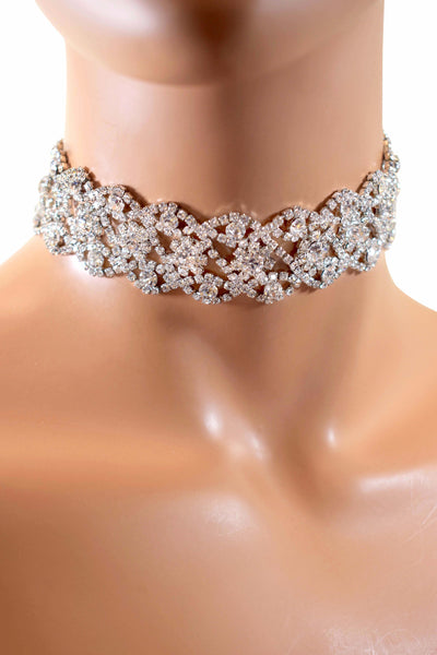 Gorgeous Handmade Rhinestone Crystals Diamond Choker Necklace - Multiple Colors