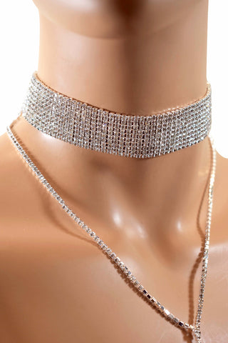 Rhinestone Diamond Choker Necklace w/ Diamond Necklace - Multiple Colors
