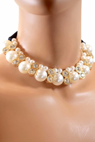 Stylish Design Rhinestone Diamond Pearl Choker Necklace w/ Black Ribbon