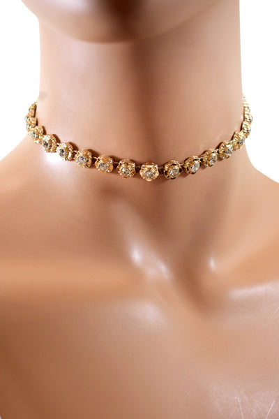 Trendy & Stylish Gold Flower Shaped Rhinestone Diamond Choker Necklace
