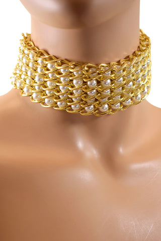 Gold & Pearl Simulated Fashion BOHO Statement Choker Necklace