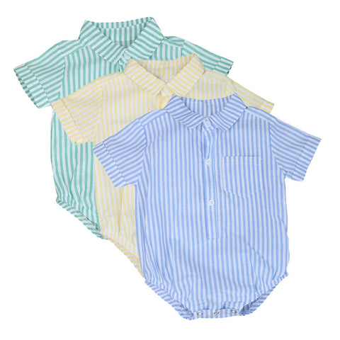 0-24M Newborn baby boy romper summer Toddler Kids Baby Boy Girl Stripe Jumpsuit by EzDeals