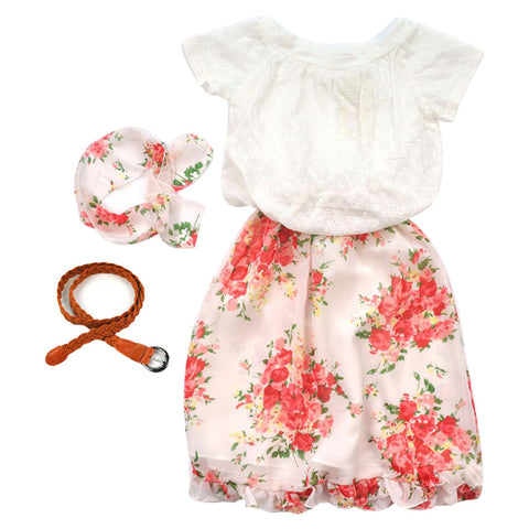 Kids gilrs clothes set Floral Kids Baby Girls Short Sleeve Tops Shirt+Dress+Belt by EzDeals