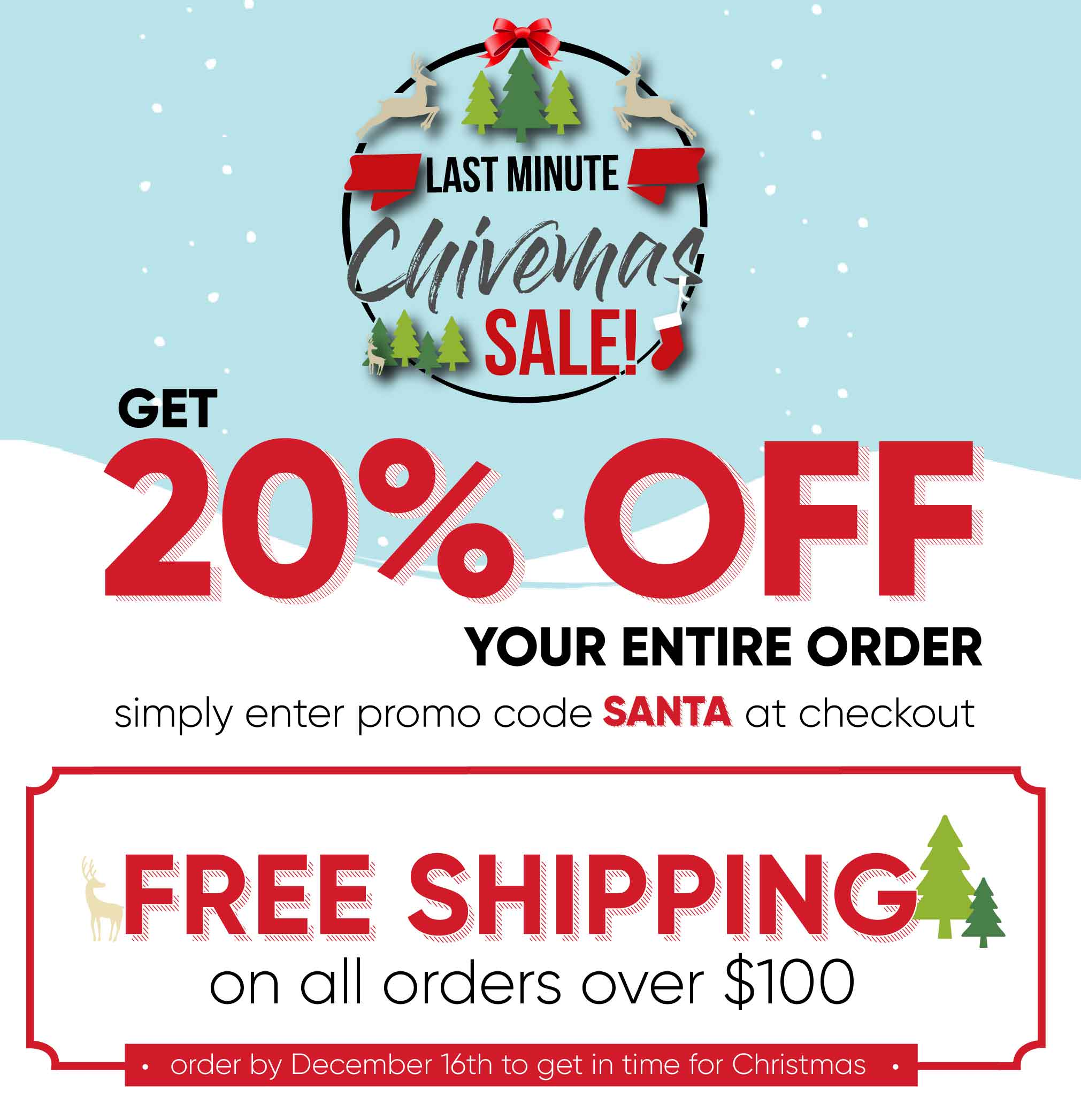 Chive Last Minute Christmas 20% off Event