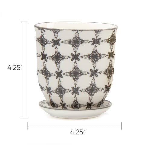 Big Liberte 3 Pot & Saucer - Chive |