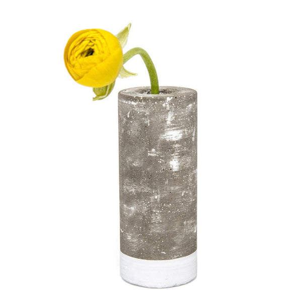 Chive Cement Tube Medium Contemporary Vase