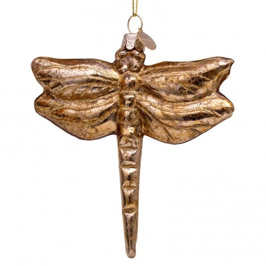 Dragonfly glass ornament | Ornement en verre Libellule 11cm Gold