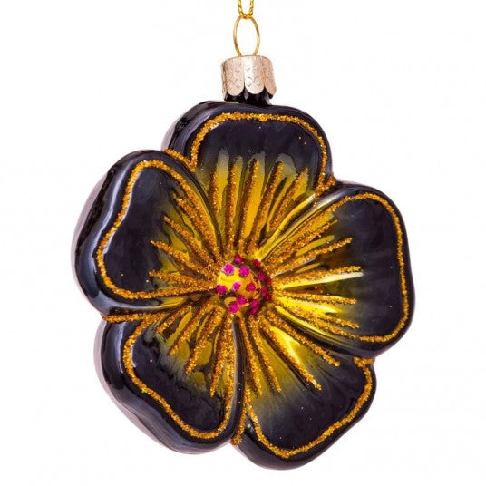 Flower glass ornament | Ornement en verre Fleur 8cm Black