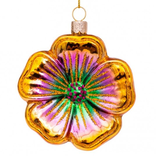 Flower glass ornament | Ornement en verre Fleur 8cm Gold Purple Green