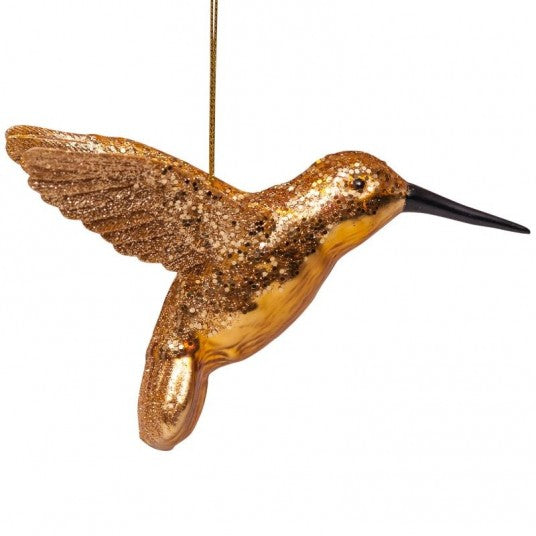 Hummingbird glass ornament | Ornement en verre Colibri 8cm Gold