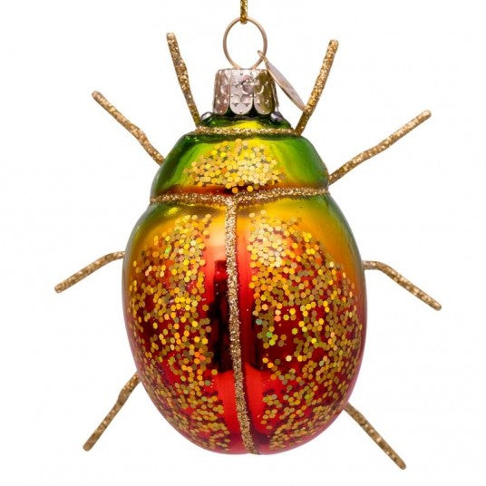 Scarab Beetle glass ornament | Ornement en verre Scarabée 8cm Green Red
