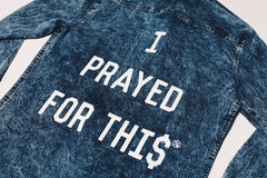 """Prayed"" Denim Button-Up Shirt"