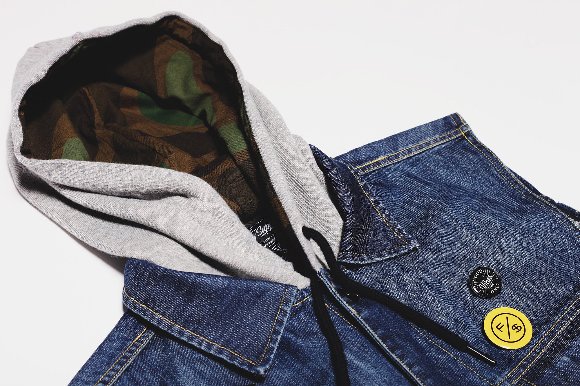 Vibes Hooded Denim Vest