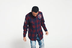 Family Over Money Flannel (Maroon)